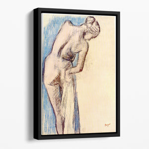 Female after the bath by Degas Floating Framed Canvas
