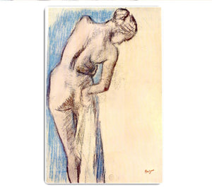 Female after the bath by Degas HD Metal Print - Canvas Art Rocks - 1
