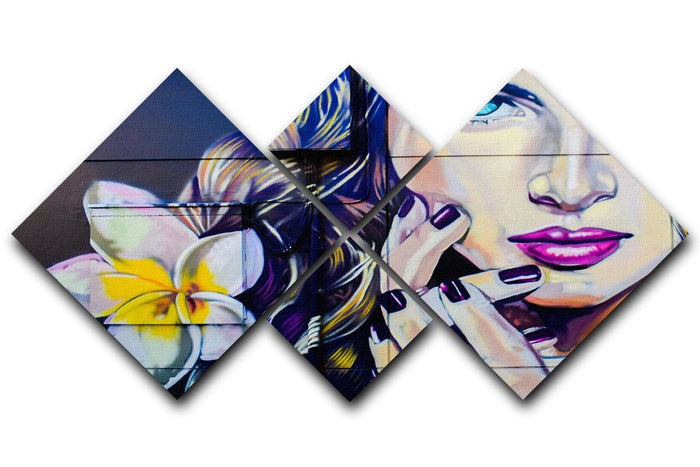 Femme Fatale Graffiti 4 Square Multi Panel Canvas