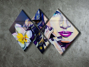 Femme Fatale Graffiti 4 Square Multi Panel Canvas - Canvas Art Rocks - 2