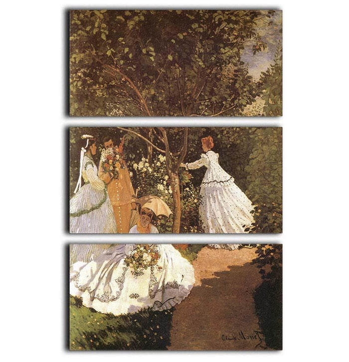 Femmes au jardin 1867 by Monet 3 Split Panel Canvas Print