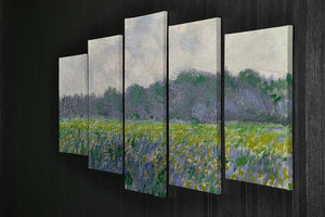 Field of Yellow Irises by Monet 5 Split Panel Canvas - Canvas Art Rocks - 2