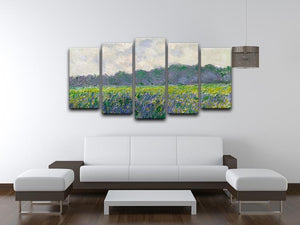 Field of Yellow Irises by Monet 5 Split Panel Canvas - Canvas Art Rocks - 3