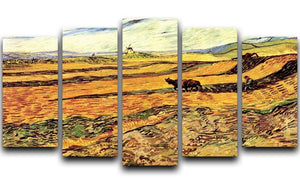 Field with Ploughman and Mill by Van Gogh 5 Split Panel Canvas  - Canvas Art Rocks - 1