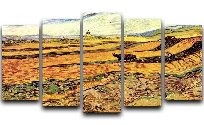 Field with Ploughman and Mill by Van Gogh 5 Split Panel Canvas