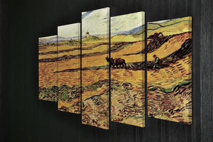 Field with Ploughman and Mill by Van Gogh 5 Split Panel Canvas - Canvas Art Rocks - 2