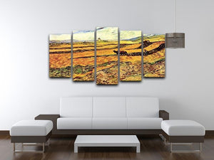 Field with Ploughman and Mill by Van Gogh 5 Split Panel Canvas - Canvas Art Rocks - 3