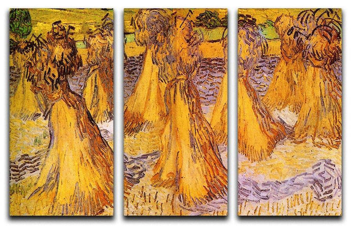 Field with Stacks of Wheat by Van Gogh 3 Split Panel Canvas Print