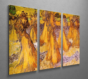 Field with Stacks of Wheat by Van Gogh 3 Split Panel Canvas Print - Canvas Art Rocks - 4