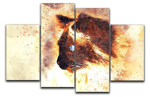 Fire Cat Painting 4 Split Panel Canvas  - Canvas Art Rocks - 1