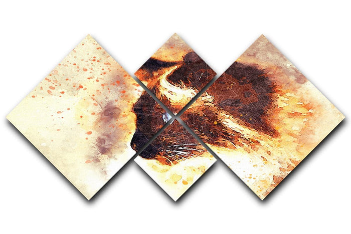 Fire Cat Painting 4 Square Multi Panel Canvas