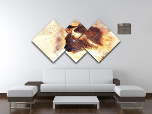 Fire Cat Painting 4 Square Multi Panel Canvas - Canvas Art Rocks - 3