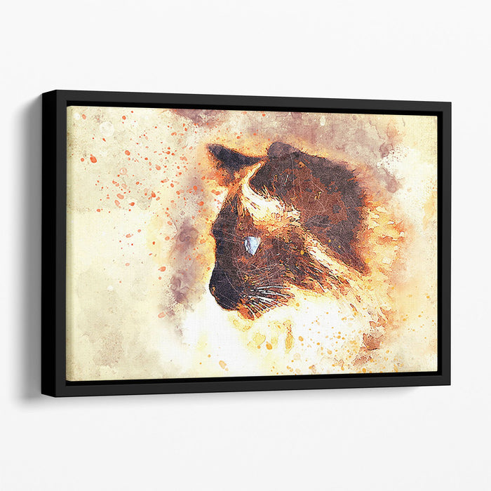 Fire Cat Painting Floating Framed Canvas