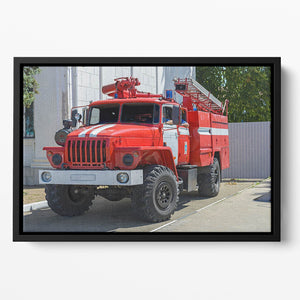 Fire Truck In The City Floating Framed Canvas