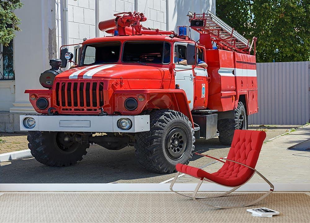 Fire Truck In The City Wall Mural Wallpaper