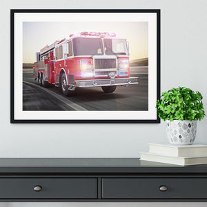 Fire truck running with lights and sirens Framed Print - Canvas Art Rocks - 1