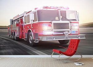 Fire truck running with lights and sirens Wall Mural Wallpaper - Canvas Art Rocks - 2