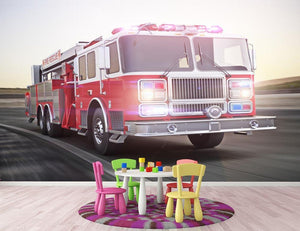 Fire truck running with lights and sirens Wall Mural Wallpaper - Canvas Art Rocks - 3