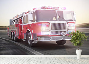 Fire truck running with lights and sirens Wall Mural Wallpaper - Canvas Art Rocks - 4