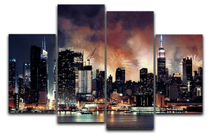 Fireworks show with Manhattan skyscrapers 4 Split Panel Canvas  - Canvas Art Rocks - 1