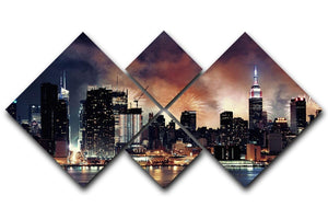 Fireworks show with Manhattan skyscrapers 4 Square Multi Panel Canvas  - Canvas Art Rocks - 1
