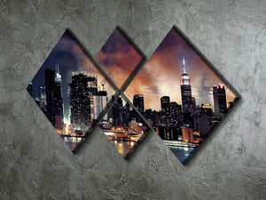 Fireworks show with Manhattan skyscrapers 4 Square Multi Panel Canvas  - Canvas Art Rocks - 2