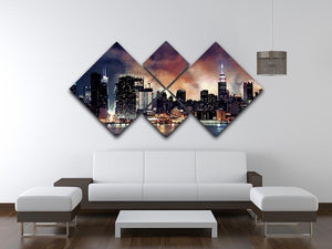 Fireworks show with Manhattan skyscrapers 4 Square Multi Panel Canvas  - Canvas Art Rocks - 3
