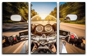 First Person Motorbike Ride 3 Split Panel Canvas Print - Canvas Art Rocks - 1