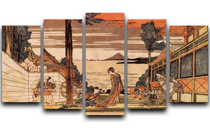 First act by Hokusai 5 Split Panel Canvas  - Canvas Art Rocks - 1