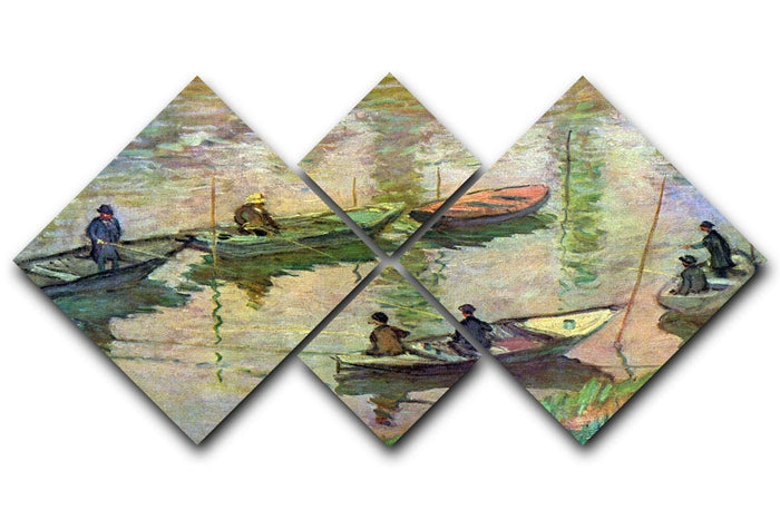 Fishermen on the Seine at Poissy by Monet 4 Square Multi Panel Canvas
