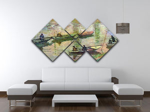 Fishermen on the Seine at Poissy by Monet 4 Square Multi Panel Canvas - Canvas Art Rocks - 3