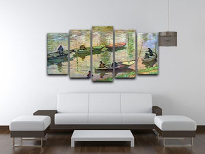 Fishermen on the Seine at Poissy by Monet 5 Split Panel Canvas - Canvas Art Rocks - 3