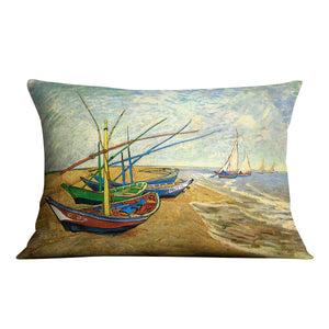 Fishing Boats on the Beach at Saintes-Maries by Van Gogh Throw Pillow