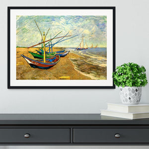 Fishing Boats on the Beach at Saintes-Maries by Van Gogh Framed Print - Canvas Art Rocks - 1