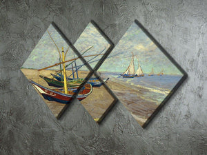 Fishing boats at Sainte Marie 4 Square Multi Panel Canvas - Canvas Art Rocks - 2