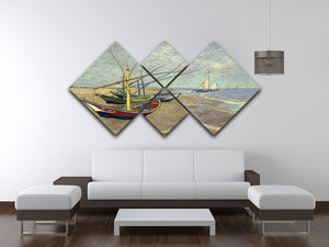Fishing boats at Sainte Marie 4 Square Multi Panel Canvas - Canvas Art Rocks - 3