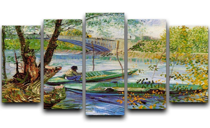 Fishing in Spring by Van Gogh 5 Split Panel Canvas