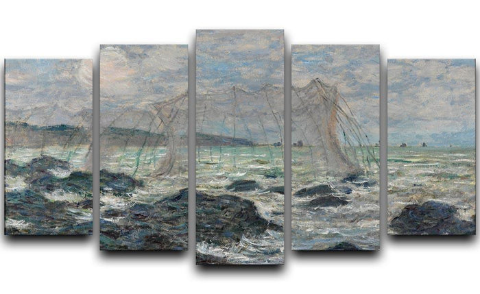 Fishing nets at Pourville by Monet 5 Split Panel Canvas