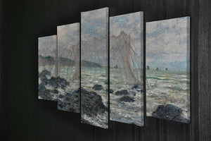 Fishing nets at Pourville by Monet 5 Split Panel Canvas - Canvas Art Rocks - 2