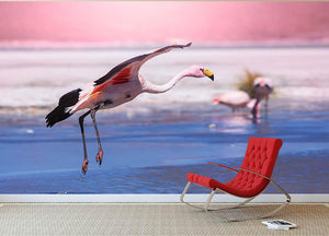 Flamingo in Bolivia Wall Mural Wallpaper - Canvas Art Rocks - 2