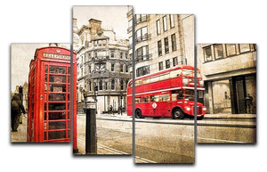 Fleet street vintage sepia 4 Split Panel Canvas  - Canvas Art Rocks - 1