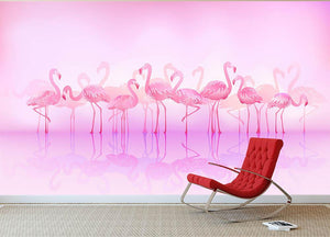 Flock of caribbean flamingos over a lake Wall Mural Wallpaper - Canvas Art Rocks - 2