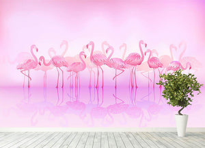 Flock of caribbean flamingos over a lake Wall Mural Wallpaper - Canvas Art Rocks - 4