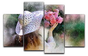 Flower Girl Painting 4 Split Panel Canvas  - Canvas Art Rocks - 1