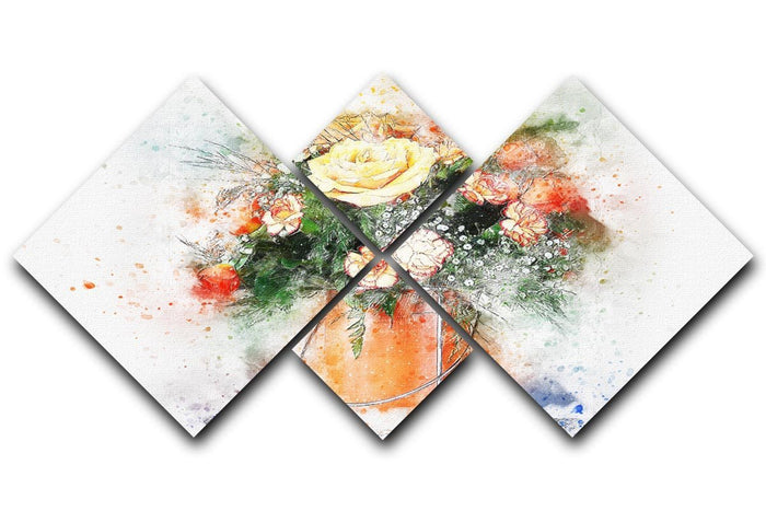 Flower Painting 4 Square Multi Panel Canvas