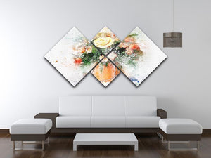 Flower Painting 4 Square Multi Panel Canvas - Canvas Art Rocks - 3