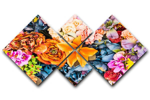 Flower background 4 Square Multi Panel Canvas  - Canvas Art Rocks - 1
