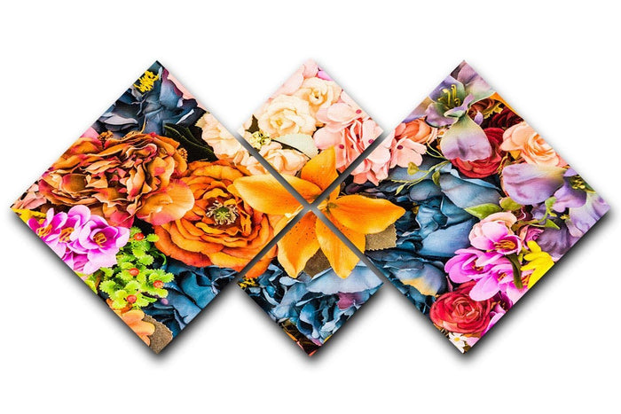 Flower background 4 Square Multi Panel Canvas