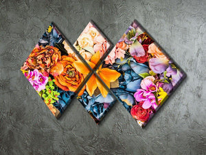 Flower background 4 Square Multi Panel Canvas  - Canvas Art Rocks - 2