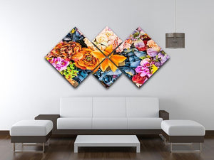 Flower background 4 Square Multi Panel Canvas  - Canvas Art Rocks - 3